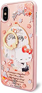 Sanrio Hello Kitty iPhoneX Case,Crystal of Swarovski, Authorized by Japanes SANRIO,Mirror ring stand case and Metal Ring Holder Kickstand(360° Adjustable Ring Stand Grip)- Rose Kitty