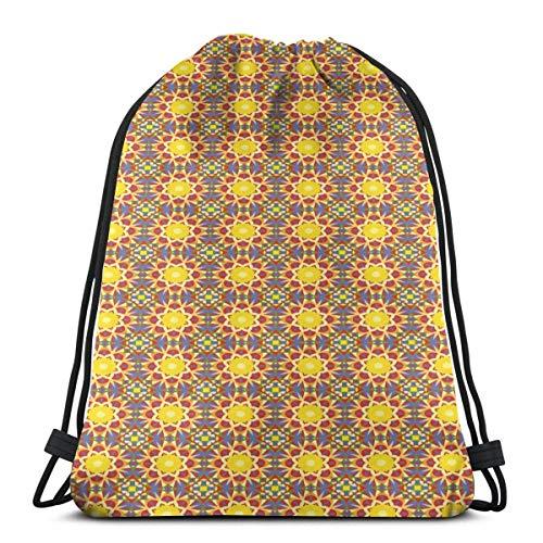 Bolsa de deporte con cordón para gimnasio, cincha de viaje, para mujeres, hombres, niños, sol oriental, dentro de una flor, motivos inspirados en la cultura árabe, hojas y pétalos