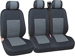 HMS FOR VAUXHALL VIVARO SPORTIVE 2 1 Black And White Piping Premium Van Seat Covers Single Drivers And Double Passengers Seat Covers