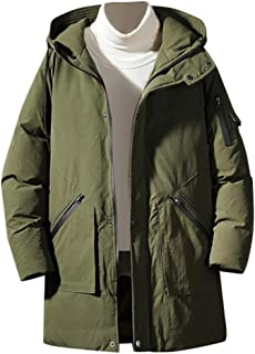 Ultra Thick Parka Coat Men Solid Down Jacket Long Puffer Outwear Overcoat