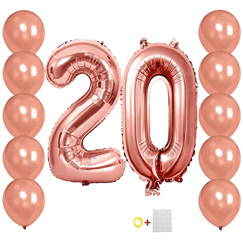 Number Balloons 20 Rose Gold Jumbo Foil 10Pcs Latex For 20Th Birthday Party Decorations