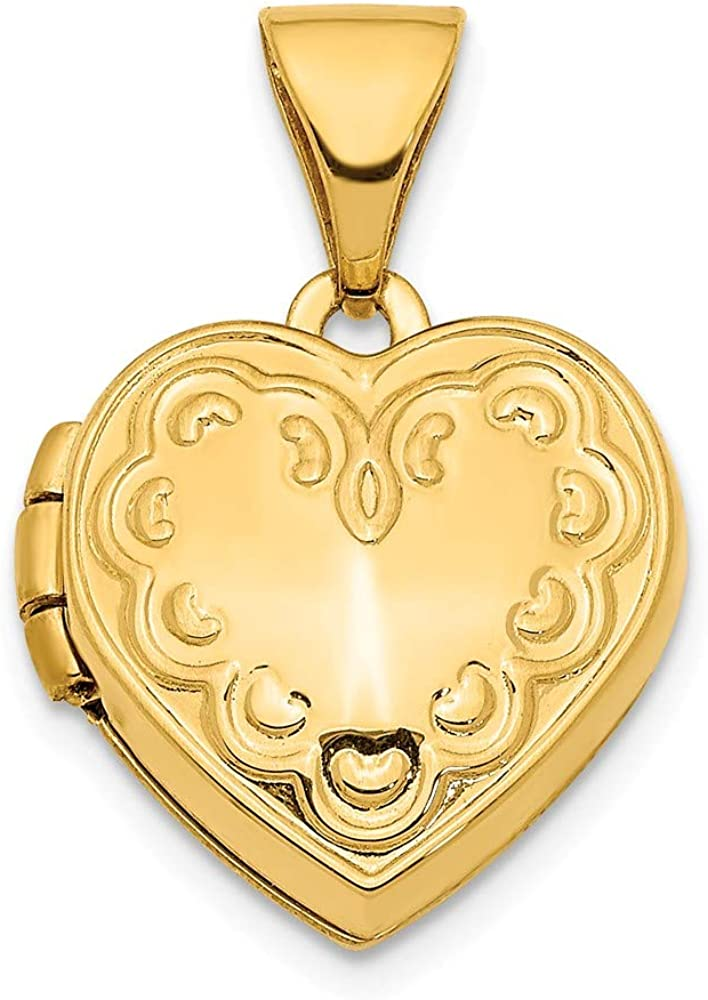 14k Yellow Gold 13mm Textured Heart Locket Pendant Charm Necklace Fine Jewelry For Women Gifts For Her