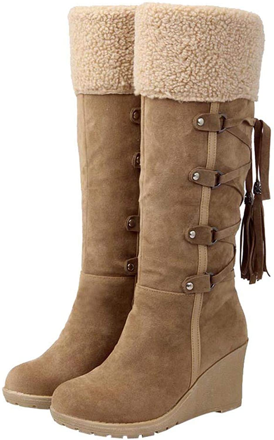 Hoxekle Knee High Boots Winter Snow Black Beige Fringe Wedges Buckle Casual Outdoor Thick Platform