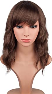 Short Wavy Bob Wigs For Black Women Natural Looking Brown Synthetic Curly Wigs With Side Bangs Heat Resistant Fiber Hair For Women (Brown)