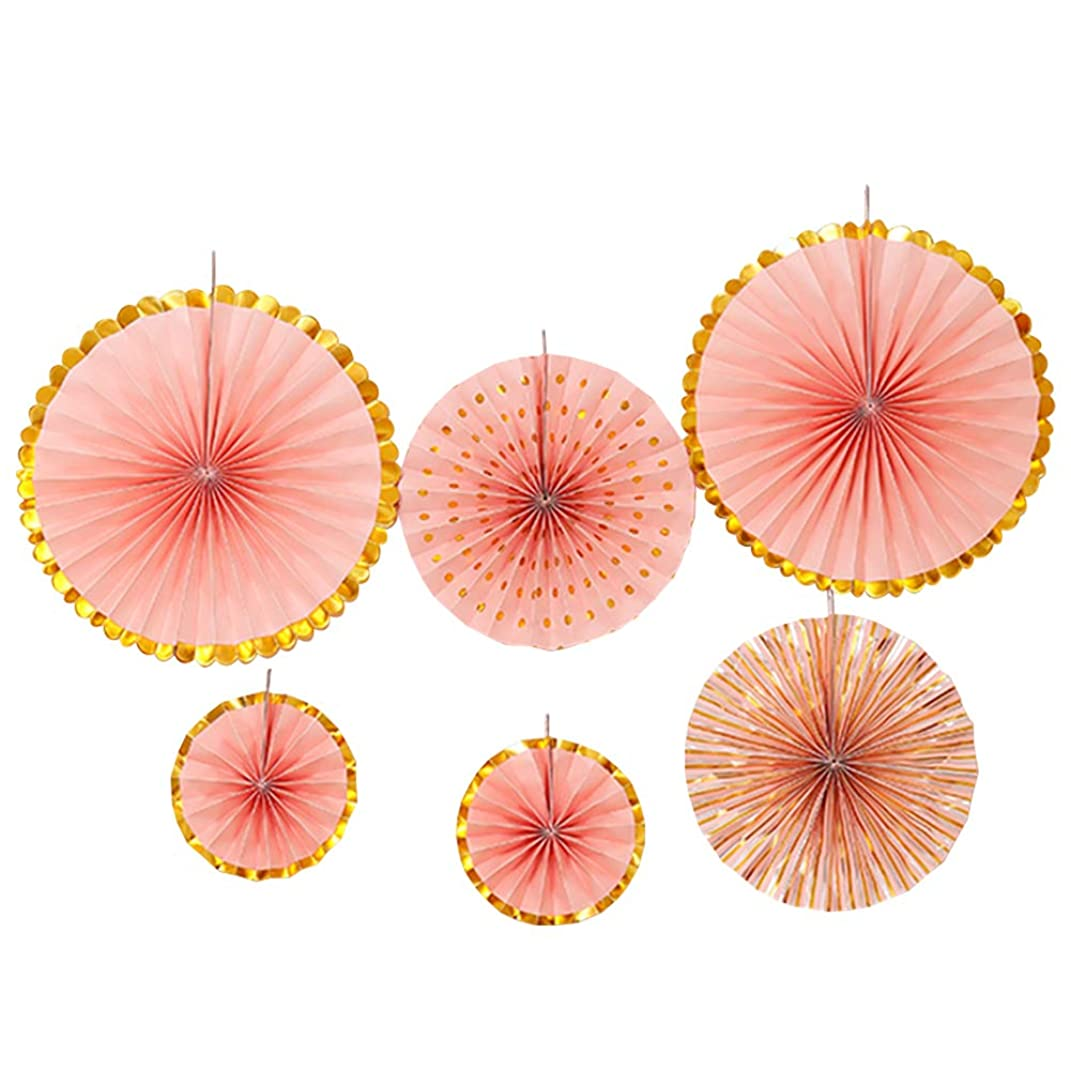 youta Hanging Paper Fans Kit Decor Folding Art Tissue Paper Fans Party Festival Wedding Home Decoration Peach Gold