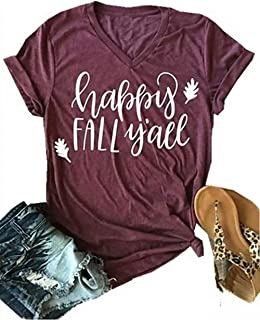 Happy Fall Y'all Halloween V Neck T Shirts Womens Funny Pumpkin Spice Letter Printed Fall Shirt Tee Tops