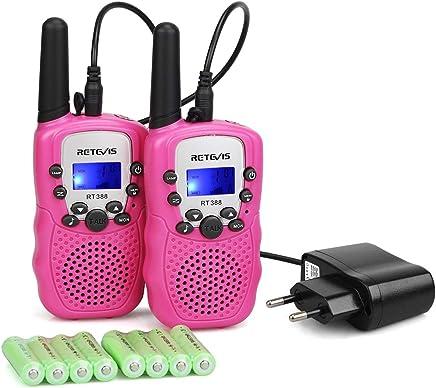 Retevis RT388 Walkie Talkie Niños Recargable PMR446 8 Canales 10 Tonos de Llamada Linterna LED VOX Walkie Talkie Juguete con Cargador y baterías Recargables(Rosa,1 Par)