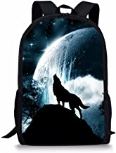 Middle School Student Backpack For Girls Fashion Durable Large School Bag Wolf Print