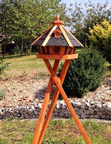 holzdekoladen Vogelhaus, Vogelhäuser mit und ohne Ständer behandelt Typ 23 (Schwarz, mit Ständer)