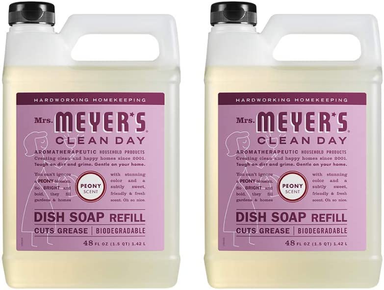 Mrs. Meyer's Clean Large-scale sale Day Liquid Dish Soap Refill Max 40% OFF Peony 48 Ounce