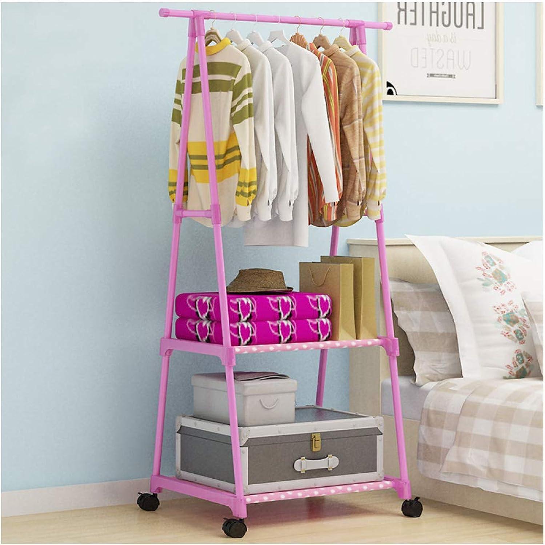 Coat Rack Bedroom Foyer Metal Hanger Anti-Rust Simple Modern Hanger (color   Pink, Size   55  42  160cm)