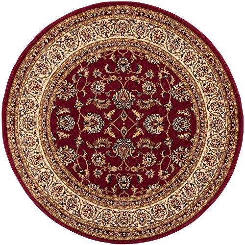 Noble Sarouk Red Persische Floral Orientalischer Traditioneller Teppich Modern Teppich, Synthetisch, rot, 160 x 160 cm