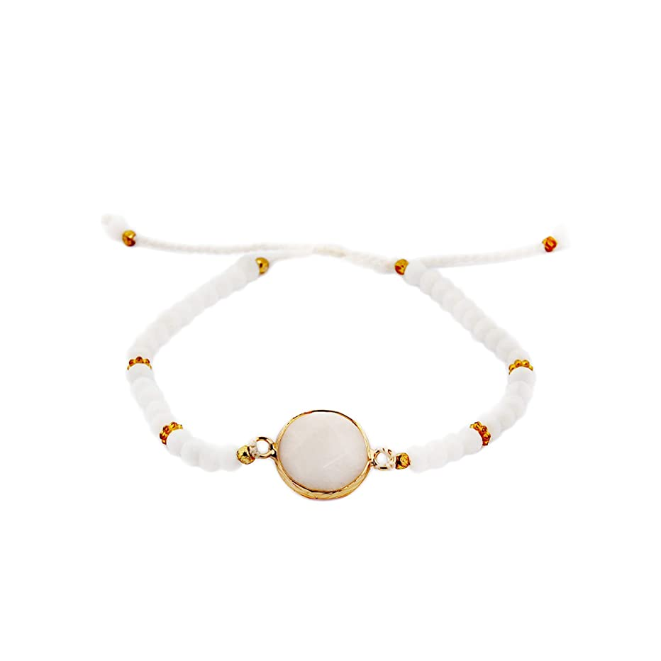 White Crystal Agate Stone Charm Stackable Layering Bracelet