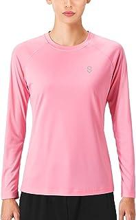 Soniz Women's UPF 50+ Sun Protection Long Sleeve Shirt Quick Dry Lightweight Running Shirt