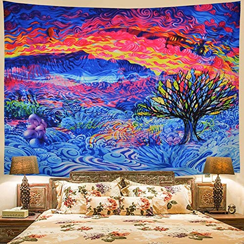 MXLF Tapestry Art Wall Hanging Home Blanket Decor Tapestry Psychedelic Background Tapestry Brushed (Color : Color, Size : 9573cm)