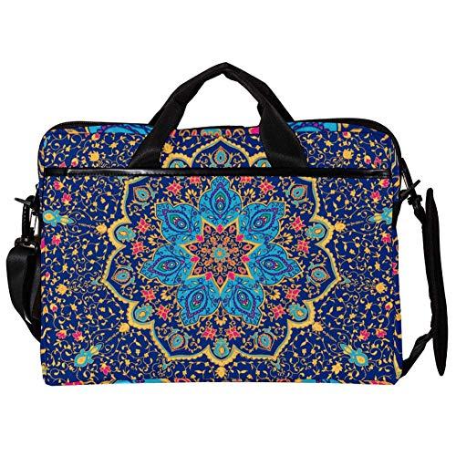 TIZORAX Laptop Messenger Shoulder Bags Blue Mandala Vector Ornament Computer Sleeve Notebook Estuche portátil 15-15.4 Pulgadas Bolso