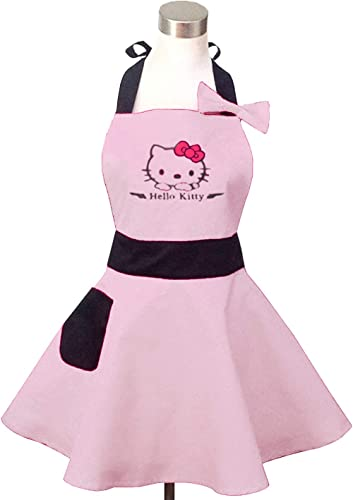 Lovely Hello Kitty Light Pink Retro Kitchen Aprons for Woman Girl Cotton Cooking Salon Pinafore Vintage Apron Dress f...