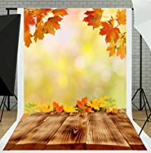 TMOTN 5X7ft Red Maple Photography Backdrops Autumn Leaves Brown Wood Floor Photo Background Studio Props D1979