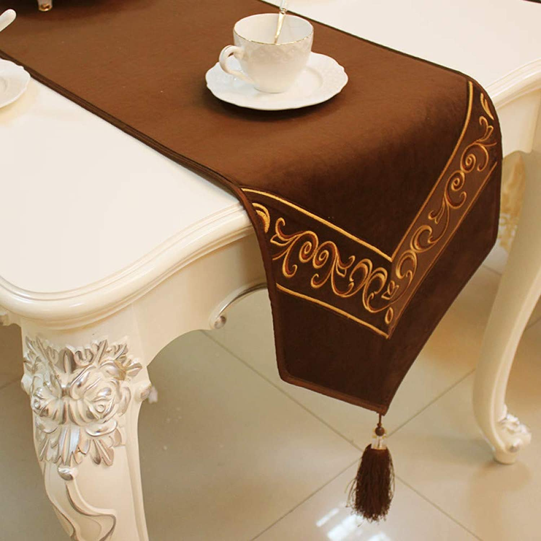 QVQV Table Runners Modern European Fleece Fabric Table Flag Back Soft Rubber AntiSkid Particle Desig