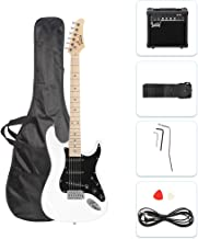 GLARRY Full Size Electric Guitar for Music Lover Beginner with 20W Amp and Accessories Pack Guitar Bag (White)