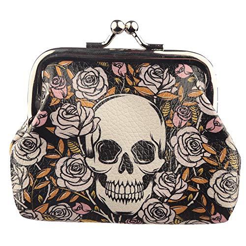 Objektkult Geldbeutel Skulls and Roses, kleines Portemonnaie mit coolem Totenkopf-und-Rosen-Motiv, Klemmverschluss aus Metall, Geldbörse aus bedrucktem Kunststoff, Maße: 8 x 10 x 2 cm