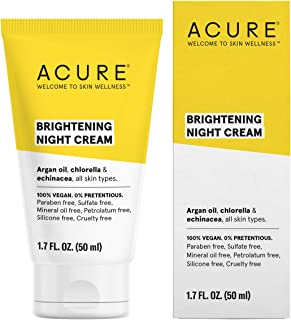 ACURE Brightening Night Cream | 100% Vegan | For A Brighter Appearance | Argan Oil, Chlorella & Echinacea - Moisturizes, Protects & Hydrates | All Skin Types | 1.4 Fl Oz