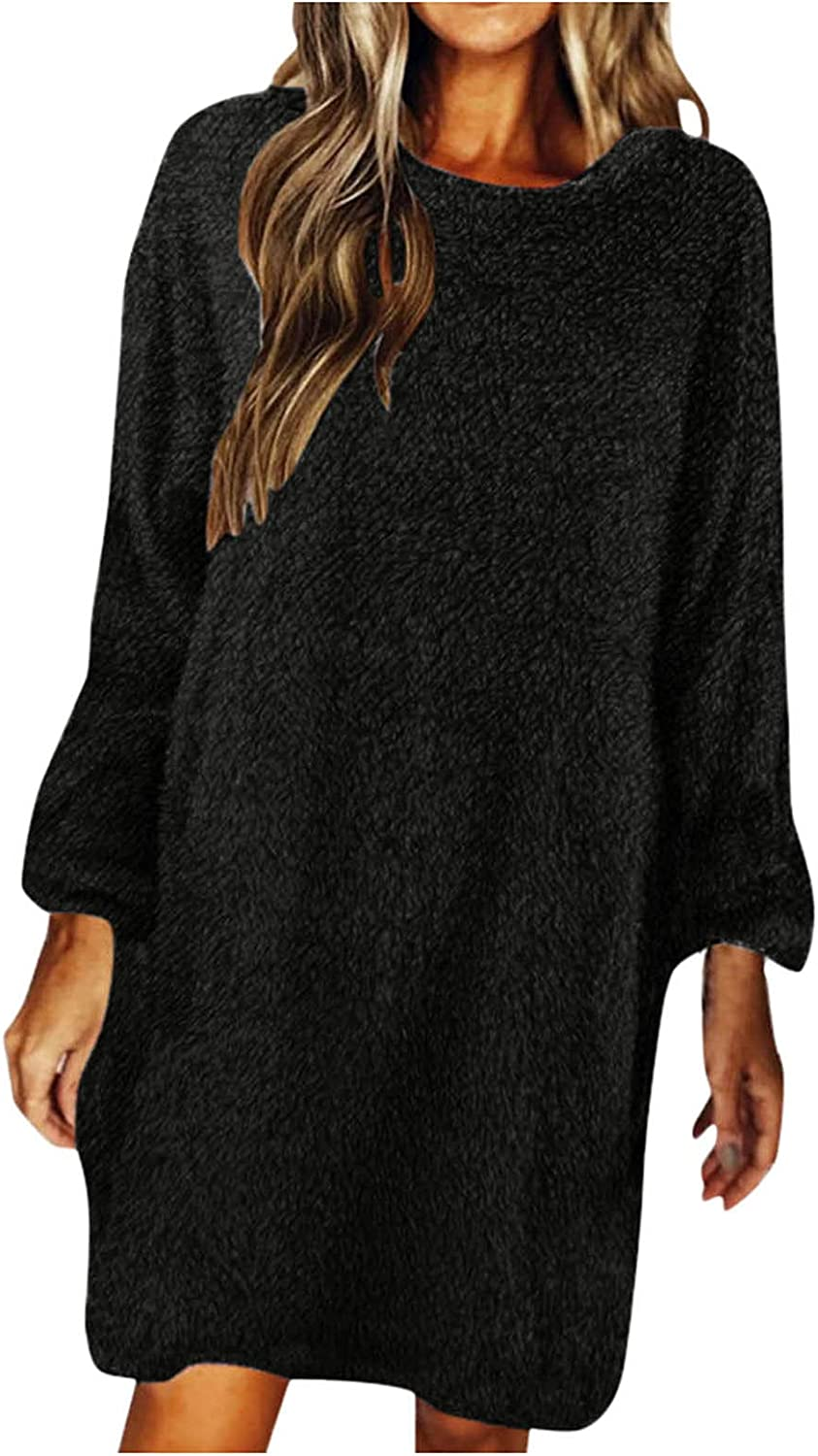 Womens Plush Sweater Dress O Neck Long Sleeve Autumn Winter Loose Party Mini Dress Solid Color Casual Dresses Fuzzy Hoodies