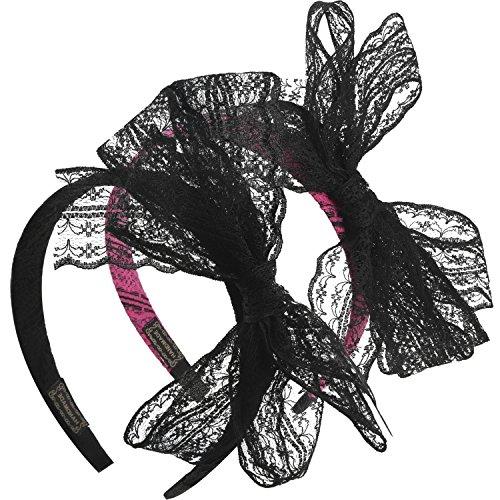 2 Stück 80 Party Lace Bow Stirnband Haarband 80 Jahre Kostüme für Damen, 2 Farben
