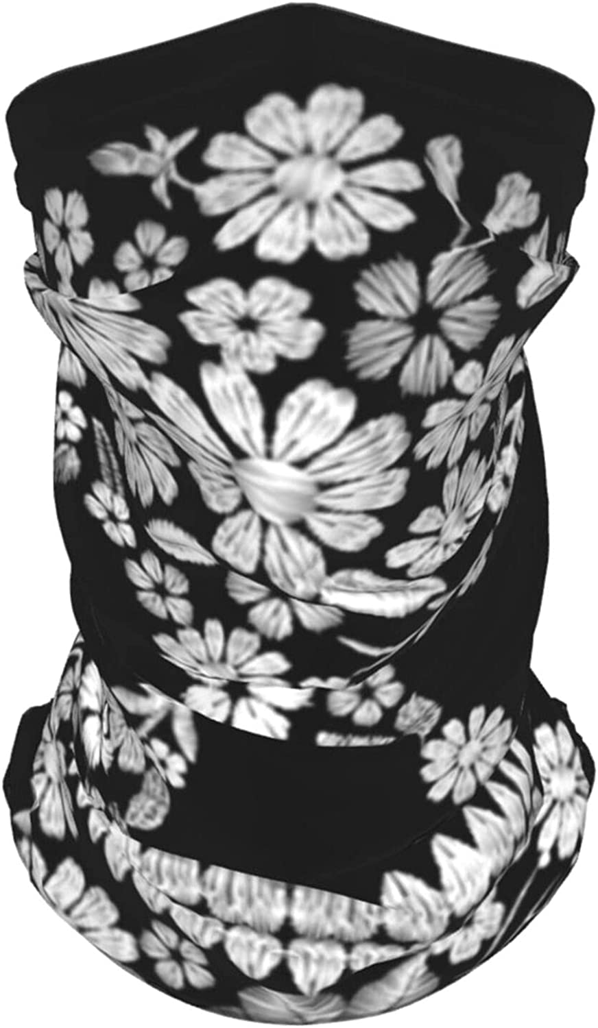 Vintage Embroidered Flower Skull Muertos Dead Holidays Nature Summer Ice Silk Breathable Face Mask Neck Gaiter Scarf Bandanas for Fishing,Hiking,Running,Motorcycle and Daily Wear