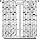 Aishare Store Rod Pocket Curtains, Arrow with Feathers Print Abstract Aztec Boho Monochrome Pattern Design, 2 Panels W36 x L54 Room Darkening Window Curtains for Living Room, Charcoal Grey