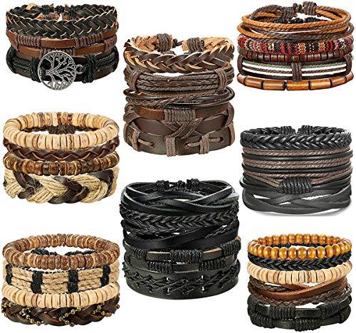 CASSIECA 32 STÜCKE Leder Armband Baum des Lebens für Herren Damen Geflochtenes Armbänder Wrap Holzperlen Charme Handgemacht, Einstellbar