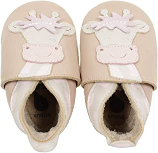 Bobux Soft Sole Giraffe Beige Leather Baby Soft Soles Shoes