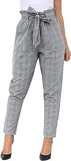 Orangeskycn Women's Pants Trouser Slim Casual Paper Bag Waist Pants with Pocket