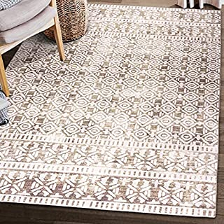 """ReaLife Machine Washable Rug - Stain Resistant, Non-Shed - Eco-Friendly, Non-Slip, Family & Pet Friendly - Premium Recycled Fibers - Luna Distressed Tribal Stripe - Beige Ivory, 7'6"""" x 9'6"""" (B08K3R1R9C) 