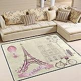 Naanle Alfombra antideslizante para el día de San Valentín, para sala de estar, comedor, dormitorio, cocina, 150 x 200 cm, romántica alfombra de bebé, alfombra de yoga