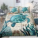 Turtle Bedding Teal Turtle Duvet Cover Set Turquoise Ocean Themed Mediterranean Style Printed Design Ocean Turtle Bedding Sets King 1 Duvet Cover 2 Pillowcases (King, Turtle)