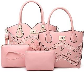 Diana Korr Women's Shoulder Bag with Handbag (Pink) (Set of 4)
