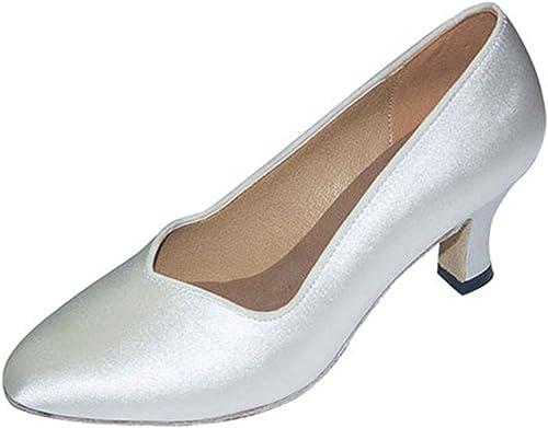 LEIT YFF Cadeaux Femmes Dance Danse Danse Latine Dance Tango Chaussures 6CM,blanc,35