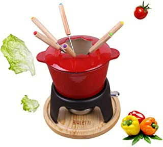 XIONGGG Cast Iron Fondue Set, 24Cm Long-Handled Stainless Steel Fruit Chocolate Fountain Cheese Forks, 6Pcs Fondue Forks