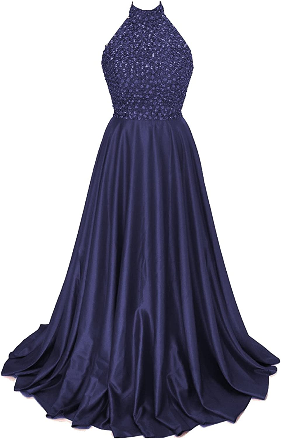 JQLD Women's Halter Satin Prom Homecoming Dresses Open Back Long Evening Gown Formal