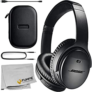 Bose QuietComfort 35 Series II Wireless Noise-Canceling Headphones (Black) Basic Bundle with Microfiber Cleaning Cloth