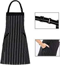 Adjustable Bib Apron with Pockets,Extra Long Tie, Commercial Grade, Unisex for Women,Chef,Waitress,Hairstylist Fits for Grill,BBQ,Paint Cross Back - Black,White Pinstripes (31.5 x 27.6 inches)
