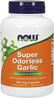 Now Supplements, Super Odorless Garlic with Hawthorn Extract and Cayenne, 180 Veg Capsules