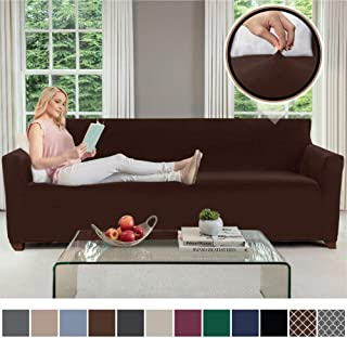 Gorilla Grip Original Velvet Fitted 1 Piece Oversized Sofa Slipcover, Stretch Up to 78 Inches, Velvety Covers, Luxury Couch Slip Cover, Spandex Sofas Furniture Protector, with Fasteners, Chocolate