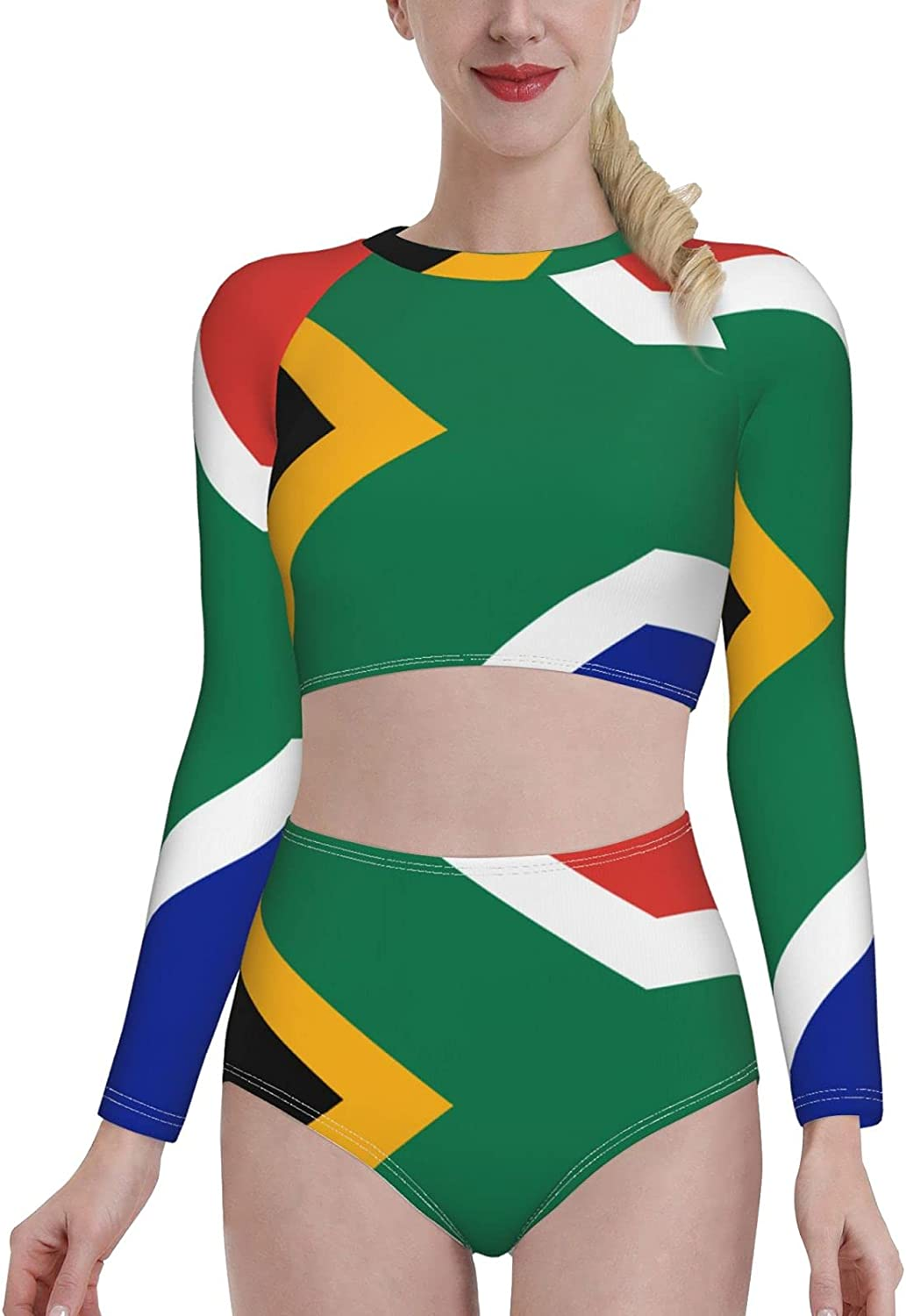 NCHOME Womens Swimwear Flag of South Africa Swimsuit Two Piece Surfing Bikini Long Sleeve Maillot Sets