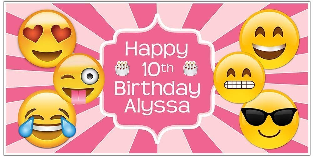 Emoji Birthday Easy-to-use Year-end gift Banner Personalized Backdro Pink Decoration Party
