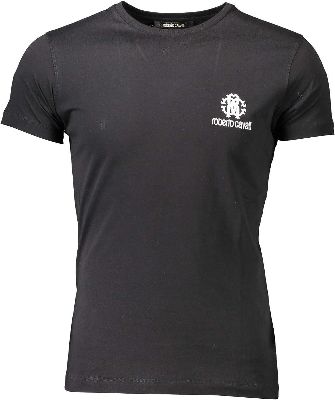Roberto Cavalli HST61F - Camiseta de punto con manga corta para hombre