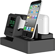 iClassic Mac 1984 Apple Watch Stand Charging Station Dock iWatch AirPods Charger Stand Charging Holder Apple Watch Charger Series 4/3/2/1/ AirPods/iPhone X/8/8Plus/7/7 Plus - Macintosh Black