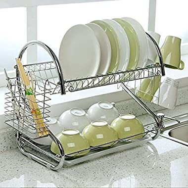 2-Tier Dish Rack and DrainBoard, 20.2  x15  x10  Kitchen Chrome Cup Dish Drying Rack Tray Cultery Dish Drainer