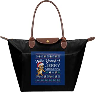 Have Yourself A Jerry Christmas Knit Tom And Jerry Waterproof Leather Folded Messenger Nylon Bag Travel Tote Hopping Folding School Handbags